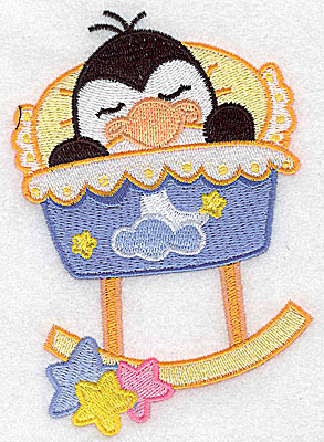 Embroidery Design: Baby bird in cradle large 3.47w X 4.97h