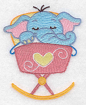 Embroidery Design: Baby elephant in cradle small 3.18w X 3.89h