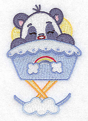 Embroidery Design: Baby panda in cradle small 2.63w X 3.89h