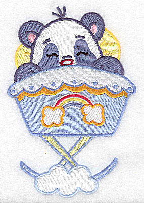 Embroidery Design: Baby panda in cradle large 3.36w X 4.98h