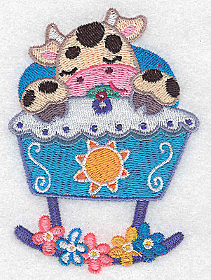 Embroidery Design: Baby cow in cradle small 2.76w X 3.89h