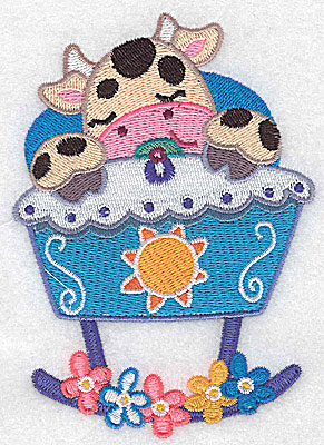 Embroidery Design: Baby cow in cradle large 3.53w X 4.97h