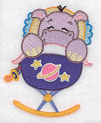 Embroidery Design: Baby hippo in cradle small 3.01w X 3.89h