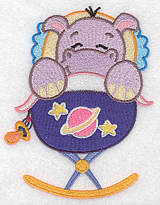 Embroidery Design: Baby hippo in cradle large 3.85w X 4.98h