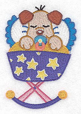 Embroidery Design: Baby puppy in cradle small 2.92w X 3.88h