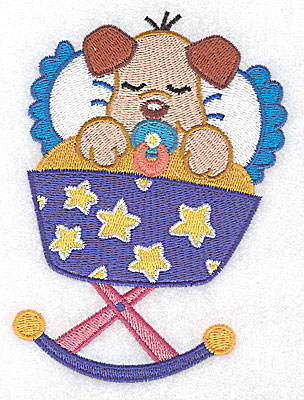 Embroidery Design: Baby puppy in cradle large 3.73w X 4.96h