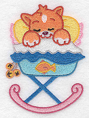 Embroidery Design: Baby kitten in cradle small 2.85w X 3.89h