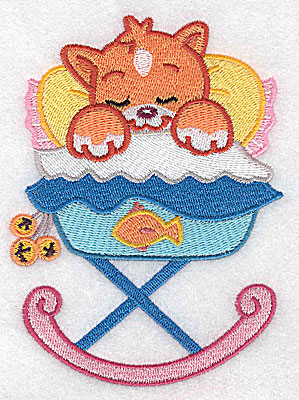 Embroidery Design: Baby kitten in cradle large 3.65w X 4.98h