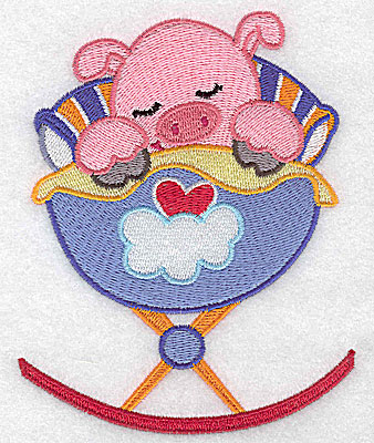 Embroidery Design: Baby pig in cradle large 3.97w X 4.98h