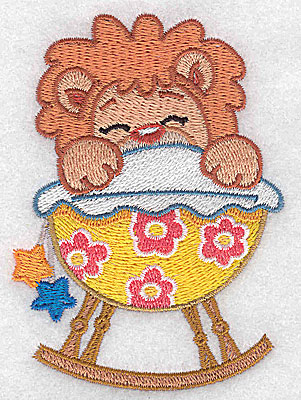 Embroidery Design: Baby lion in cradle small 2.80w X 3.88h