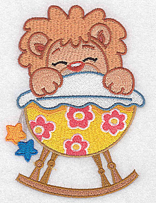 Embroidery Design: Baby lion in cradle large 3.59w X 4.96h