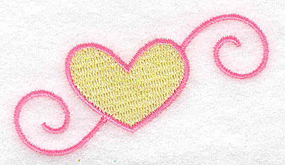 Embroidery Design: Heart with swirls 3.02w X 1.64h