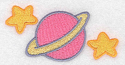 Embroidery Design: Planet with rings and stars 3.08w X 1.59h