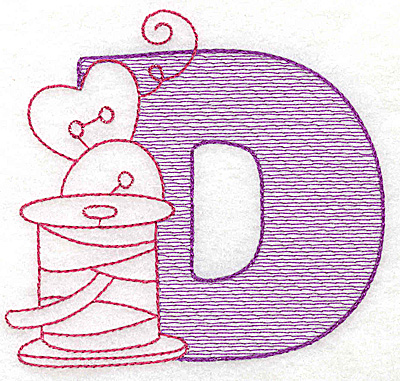 Embroidery Design: D large 4.75w X 5.12h