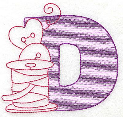 Embroidery Design: D medium 3.93w X 4.18h