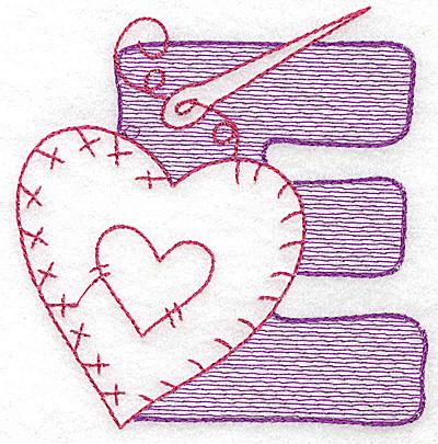 Embroidery Design: E small 3.12w X 3.00h