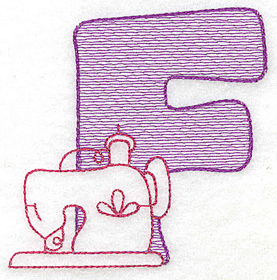 Embroidery Design: F large 4.25w X 4.93h