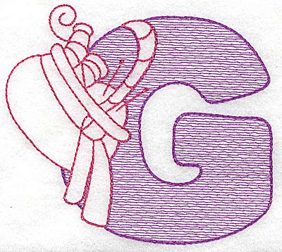 Embroidery Design: G medium 3.62w X 4.12h