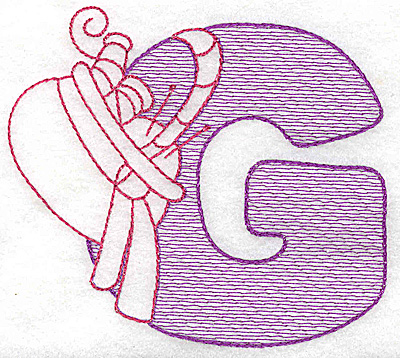 Embroidery Design: G small 2.93w X 3.31h
