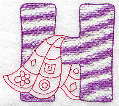 Embroidery Design: H large 4.31w X 4.87h