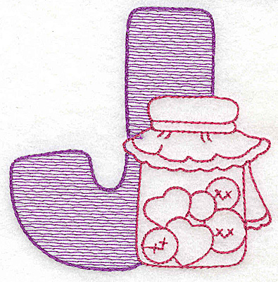 Embroidery Design: J medium 3.43w X 3.37h