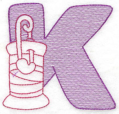 Embroidery Design: K small 2.81w X 2.93h
