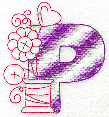 Embroidery Design: P large 5.06w X 4.56h