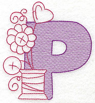 Embroidery Design: P medium 4.18w X 3.75h
