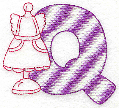 Embroidery Design: Q large 4.43w X 5.12h
