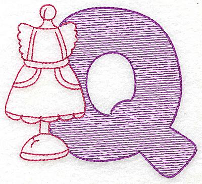 Embroidery Design: Q small 2.93w X 3.37h