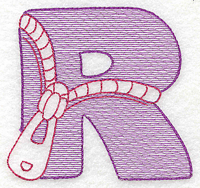 Embroidery Design: R large 4.12w X 4.37h