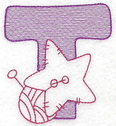 Embroidery Design: T small 2.81w X 2.56h