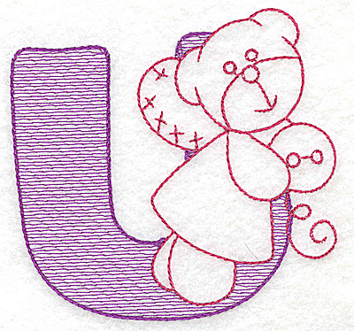 Embroidery Design: U medium 3.62w X 3.81h