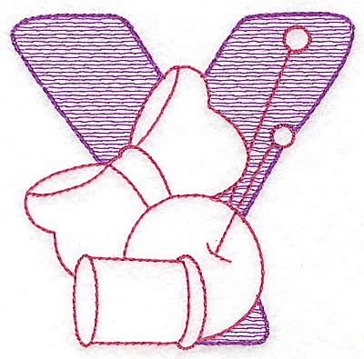 Embroidery Design: Y medium 3.43w X 3.50h