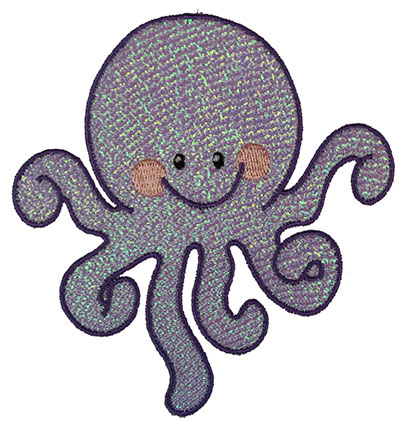 Embroidery Design: Mylar Octopus  4.62w X 4.89h