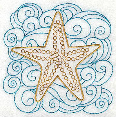 Embroidery Design: Starfish with swirls large 4.97w X 4.98h