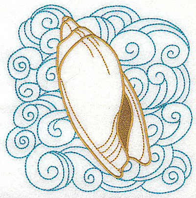 Embroidery Design: Seashell A with swirls large 4.93w X 4.95h