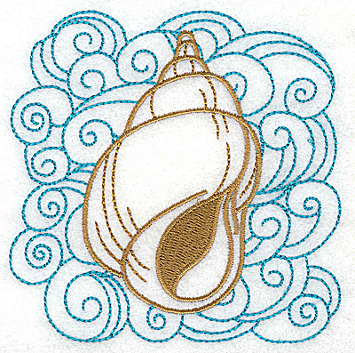 Embroidery Design: Seashell B with swirls small 3.86w X 3.86h