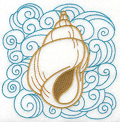 Embroidery Design: Seashell B with swirls large 4.93w X 4.94h