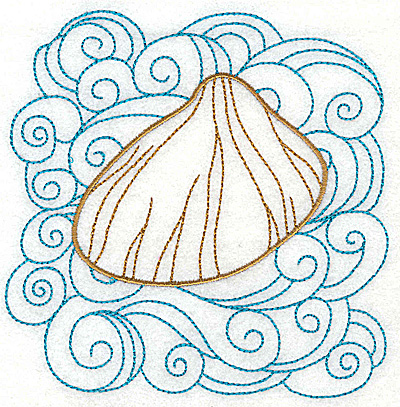 Embroidery Design: Clam shell 1 with large swirls 4.97w X 4.98h