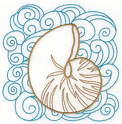 Embroidery Design: Seashell C with swirls large 4.97w X 4.98h