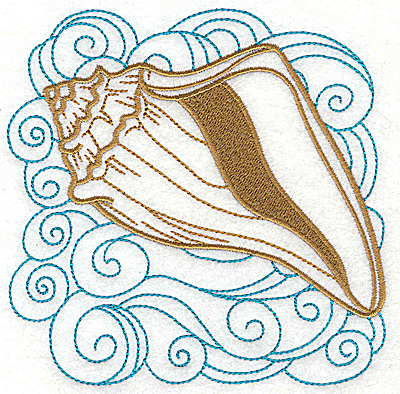 Embroidery Design: Seashell E with swirls large 4.97w X 4.98h