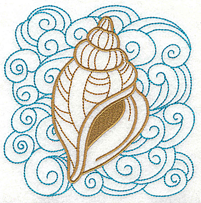 Embroidery Design: Seashell F with swirls large 4.95w X 4.97h
