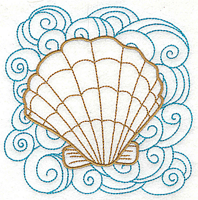 Embroidery Design: Clam shell 2 with large swirls 4.96w X 4.97h