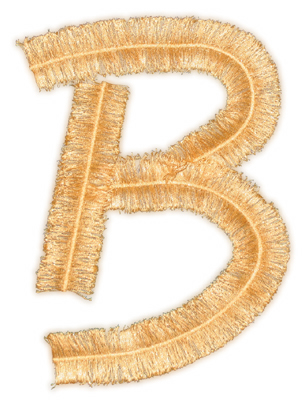 "Embroidery Design: Script Fringe Letter B3.89"" x 5.57"""