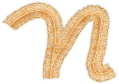 """Embroidery Design: Script Fringe Letter N5.94"""" x 4.64"""""""