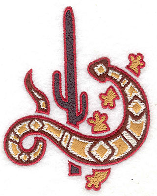 Embroidery Design: Gecko with cactus 3.13w X 3.89h