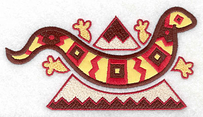 Embroidery Design: Gecko applique with mountain 5.63w X 3.07h