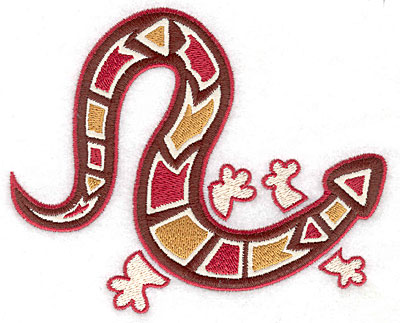 Embroidery Design: Gecko C with brown applique 5.31w X 4.31h