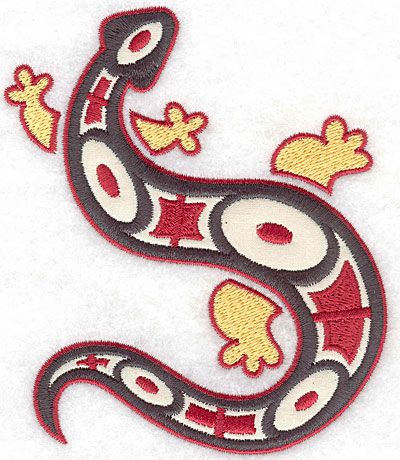 Embroidery Design: Gecko F with ivory applique 4.07w X 4.86h